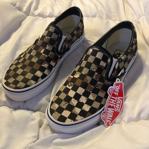 Vans Shoes | Nwt Camo Checkered Slip On